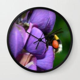 Lupine and bumblebee Wall Clock