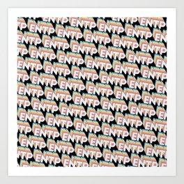 ENTP Trendy Rainbow Text Pattern (Black) Art Print