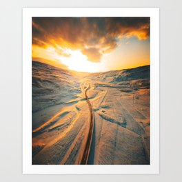 iceland road aerial view Art Print