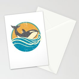 Retro Distressed Killer Whale Design for Orca Lovers Stationery Cards