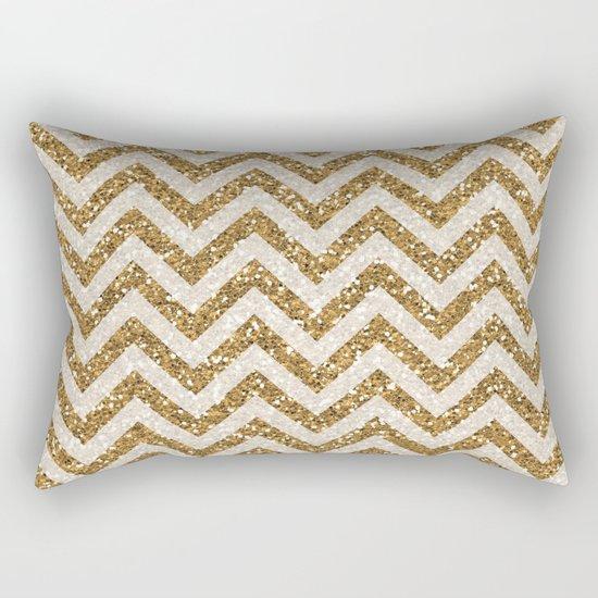 Sparkling gold glitter chevron pattern Rectangular Pillow