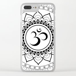Om Mandala White & Black Clear iPhone Case
