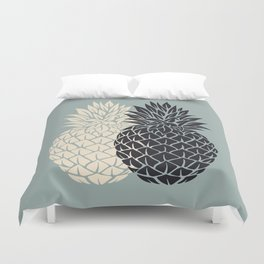 Pineapple, grey , black , tropical , hawaii , summer , fruit , pineapple print , pineapple design Duvet Cover