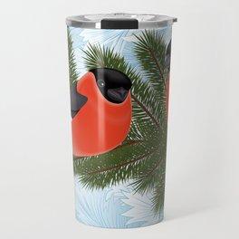 Bullfinch birds on fir tree branches Travel Mug