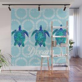 Turtle dream dreamer summer, illustration original painting print Wall Mural