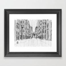 Fog and Rain: Cityscape (WHITEOUT) Framed Art Print