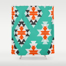 Triangles and diamonds in mint Shower Curtain