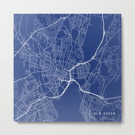 New Haven Map, USA - Blue Metal Print