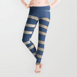 Simply Drawn Stripes White Gold Sands on Aegean Blue Leggings