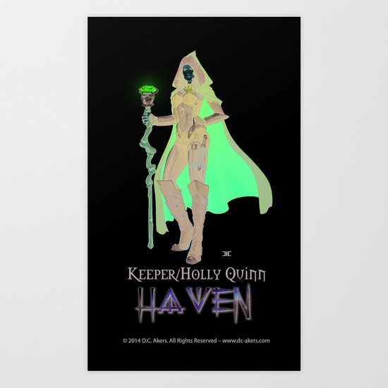 Keeper Agent - Holly Quinn -WHITE - Haven Book Series Art Print