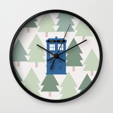 TARDIS lands in the Pacific Northwest Pine Tree Forest - Oregon, Washington, Portland, PDX, Seattle Wall Clock
