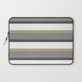 Grey And Gold Stripes with White Laptop Sleeve