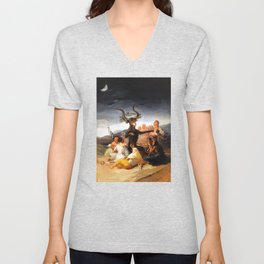 Francisco de Goya - Witches Sabbath (El Aquelarre) 1798 Artwork for Wall Art, Prints, Posters, Tshir Unisex V-Neck