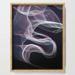 Moody & Beautiful Smoky lacy flux - black, blue, pink #abstractart Serving Tray
