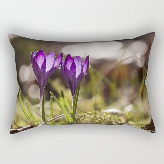 Crocuses at early backlight Rectangular Pillow
