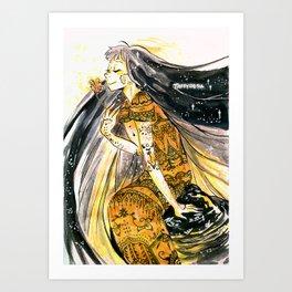 Golden Dress Art Print