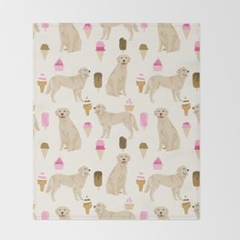 Golden Retriever dog breed pet portrait ice cream custom pet illustration by pet friendly Throw Blanket