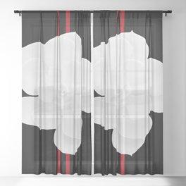 White Succulent On Black #decor #society6 #buyart Sheer Curtain