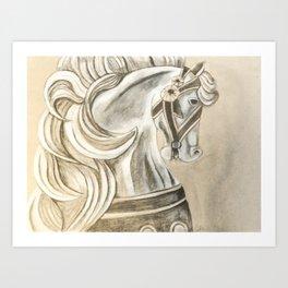 Carousel Horse Sketch Art Print