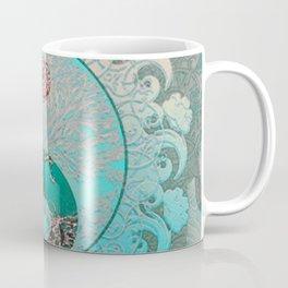 Pretty Chic Teal Tree of Life with Yin Yang and Heart Coffee Mug