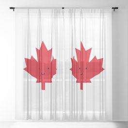 Happy Canada Day Maple Leaf (Red) Sheer Curtain