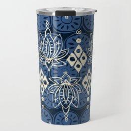 lotus diamond indigo Travel Mug