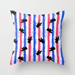 pink no blue bounding fairy stripes Throw Pillow