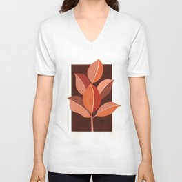 Abstract Leaves III Unisex V-Neck
