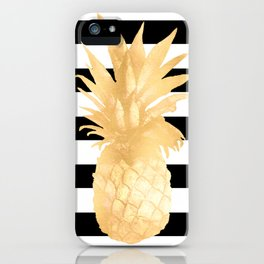 Gold Pineapple Black and White Stripes iPhone Case