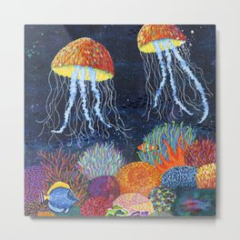 Sealife and Jellyfish Metal Print