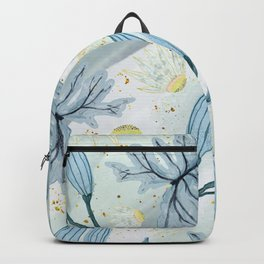 Blue Pastel Leaves Backpack