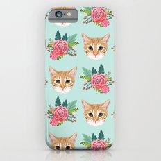 Tabby cat florals flowers must have cat themed gifts pet portrait cat lady mint pastel cat art fur Slim Case iPhone 6s