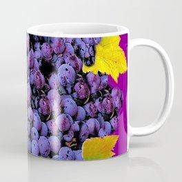 Succulent Purple Vineyard Grapes & Grape Leaves Art Coffee Mug