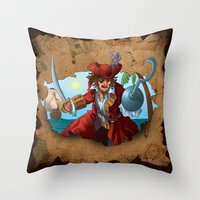 pirate Throw Pillows featuring Pirate by scottpratherpaints