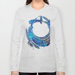 Blue and White Contemporary Art - Swirling 2 - Sharon Cummings Long Sleeve T-shirt