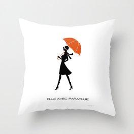 Fille Avec Parapluie Throw Pillow
