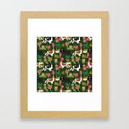 Cavalier King Charles Spaniel tiki hawaiian island tropical dog breed pattern dogs Framed Art Print