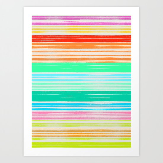 Waves_Multicolor2 Art Print