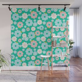 Small blue, white and pink flowers over a turquoise background Wall Mural