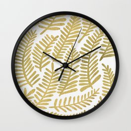 Gold Fronds Wall Clock