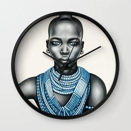 Tribal girl with Mohawk Wall Clock