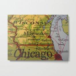 Wisconsin, Lake Michigan, Chicago Map Metal Print