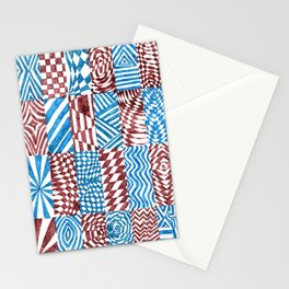 Checkerboard, Blue/Red Abstract (Ink Drawing) Stationery Cards