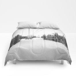 Ski Chair Lift B&W \\ Deep Snow Season Pass Dreams \\ Snowy Winter Mountains Landscape Photography Comforters