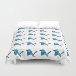 Illustrated Blue Wren with Line Art Duvet Cover