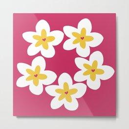 Yellow Plumeria Lei (Pink) Metal Print