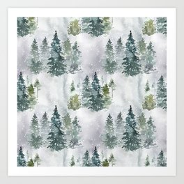 Dreamy Pine Forest in Soft Hues of Green and Gray with Snow  Art Print