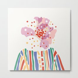 Blooming face - abstract vector shapes portrait Art Print Metal Print