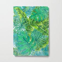 Tropcal leaves watercolor Metal Print