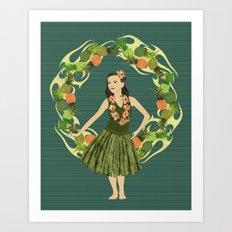 Hula Pineapple Wreath Art Print
